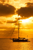 Sailboat Silhouetted at Sunset, Bill Baggs Cape Florida State Park, Key Biscayne, Florida