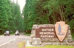 Park Sign, Mather Memorial Parkway, Mount Rainier National Park, Washington