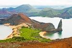 View from Bartolome Island, Sullivan Bay and Pinnacle Rock, Galapagos National Park, Ecuador