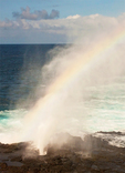 Rainbow and Blowhole in Lava Rocks, Punta Suarez, Hood Island, Espanola, Galapagos National Park, Galapagos Islands, Ecuador
