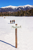 Hikers on Lonesome Lake in Winter, Franconia Notch State Park, White Mountains, New Hampshire