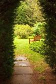 Wooden Bench in Formal Garden, Habitat Education Center and Wildlife Sanctuary, Mass Audubon, Belmont, Massachusetts