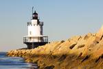 Spring Point Ledge Light and Granite Breakwater, 19th Century Sparkplug Lighthouse, Casco Bay, Portland, Maine