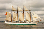 Juan Sebastian de Elcano Sailing Vessel, Spanish Naval Training Tall Ship Sailboat, Boston Harbor, Massachusetts