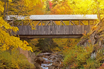 Sentinel Pine Covered Bridge in Autumn, Historic Stringer Bridge, The Flume, Franconia Notch State Park, White Mountains, Lincoln, New Hampshire