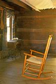 Rocking Chair, Interior of John Davis Cabin, Mountain Farm Museum, Oconoluftee Section, Great Smoky Mountains National Park, North Carolina