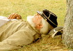 Confederate Civil War Reenactor Sleeping, Civil War Reenactors