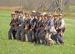 44th Georgia Reenactors Marching, American Civil War, Gettysburg National Battlefield, Pennsylvania