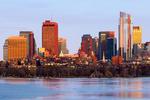 Boston Skyline in Winter, Frozen Charles River, Boston, Massachusetts