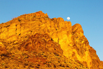 Full Moon Over Mountain, Lower Burro Mesa Trail, Ross Maxwell Road, Chisos Mountains, Chihuahuan Desert, Big Bend National Park, Texas