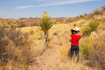 Photographer on Upper Burro Mesa Pouroff Trail, Chisos Mountains, Chihuahuan Desert, Big Bend National Park, Texas