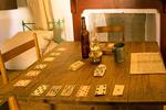 Card Table in the Enlisted Men's Barracks, Fort Davis National Historic Site, Davis Mountains, Fort Davis, Texas