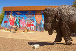 Bison Sculpture and Mural, Nuestra Herencia, Our Heritage Mural, Artist Carlos Flores, Chamizal National Memorial, El Paso, Texas