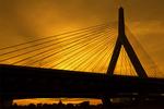 Leonard Zakim Bunker Hill Bridge at Sunset, Charles River, Boston, Massachusett