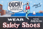 Historic Safety Shoe Sign, Freedom Trail, Boston National Historical Park, Charlestown Navy Yard, Boston, Massachusetts
