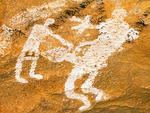 People Pictograph at Comanche Cave, Hueco Tanks State Historic Site, Chihuahuan Desert, El Paso, Texas