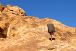 Rock Climber on the Chain Trail, Hueco Tanks State Historic Site, Chihuahuan Desert, El Paso, Texas