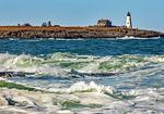 Ocean Surf and Wood Island Light Station from East Point Sanctuary, Rocky Maine Coast, Maine Audubon Sanctuary, Biddeford Pool, Maine