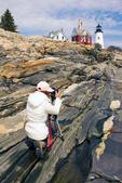 Photographer, Pemaquid Point Light, 19th Century Lighthouse, Maine's Rocky Coast, Bristol, Maine