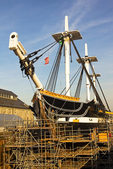 USS Constitution in Dry Dock, Old Ironsides, Wooden Hulled, Three-Masted Heavy Frigate, United States Navy, Freedom Trail, Boston National Historial Park, Charlestown Navy Yard, Boston, Massachusetts