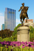 George Washington Statue and Boston Skyline, Boston Public Garden, Boston, Massachusetts