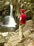 Hiker at Kinsman Falls, Cascade Brook, Basin Cascades Trail, Franconia Notch State Park, White Mountains, New Hampshire