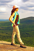Hiker on Boulder Loop Trail, Kancamagus Highway, White Mountains, New Hampshire,