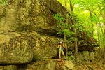 Hiker and Giant Rock, Boulder Loop Trail, Kancamagus Highway, White Mountains, New Hampshire