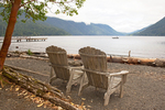 Chairs on Lake Crescent, Olympic National Park, Washington