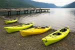 Kayaks on Lake Crescent, Olympic National Park, Washington