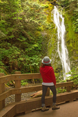 Hiker at Madison Falls, Elwha River, Olympic National Park, Washington