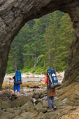 Backpackers, Hole in the Wall, Rialto Beach, Olympic National Park, Washington