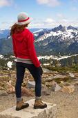 Hiker at Panorama Point Viewing the Tatoosh Range, Paradise Area, Mount Rainier National Park, Washington