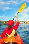 Kayaking on the Charles River, View of the Zakim Bridge, Boston Cambridge, Massachusetts