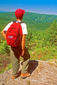 Hiker Viewing Mt. Greylock, Appalachian Trail, Berkshires, Mount Greylock State Reservation, Adams, Massachusetts