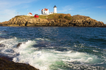 Waves and Cape Neddick Light, Nubble Lighthouse, 19th century Lighthouse, York, Maine,