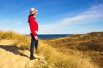 Hiker on Pamet Trail, Cape Cod National Seashore, Truro, Massachusetts