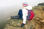 Hiker in Fog on Franconia Ridge, Appalachian Trail, Franconia Notch State Park, White Mountains, New Hampshire