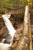 Wooden Footbridge and Sabbaday Falls, Kancamagus Highway, White Mountains, New Hampshire