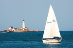 Sailboat and Boston Light, First American Lighthouse, Little Brewster Island, Boston Harbor Islands, Massachusetts
