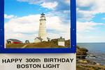Boston Light Framed in Sign, First American Lighthouse, Little Brewster Island, Boston Harbor Islands, Massachusetts