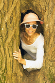 Hiker in Tree at Bartholomew's Cobble, Berkshires, Western Mass, Ashley Falls, Massachusetts