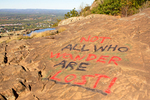 Trail Philosophy on Mt. Tom, All Who Wander Are Not Lost, Mount Tom State Reservation, Holyoke, Massachusetts