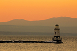 Sunset Over Burlington North Breakwater Light and the Adirondack Mountains, Lake Champlain, Burlington, Vermont
