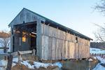 Scribner Covered Bridge in Winter, Mudgett Covered Bridge, Johnson, Vermont