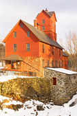 Old Red Mill and Mill House in Winter, Chittenden Mills, 19th Century Grist Mill, Jericho, Vermont