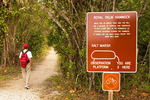 Hiker and Trail Sign, Royal Palm Hammock Trail, Collier-Seminole State Park, Naples, Florida