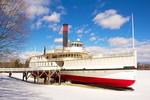 Ticonderoga Steamboat in Winter, side-paddle-wheel passenger steamer, Shelburne Museum, Burlington, Vermont