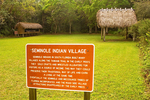 Seminole Indian Village Sign and Native American Village, Collier-Seminole State Park, Naples, Florida