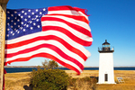American Flag and Long Point Light Station, Cape Cod, Provincetown, Massachusetts